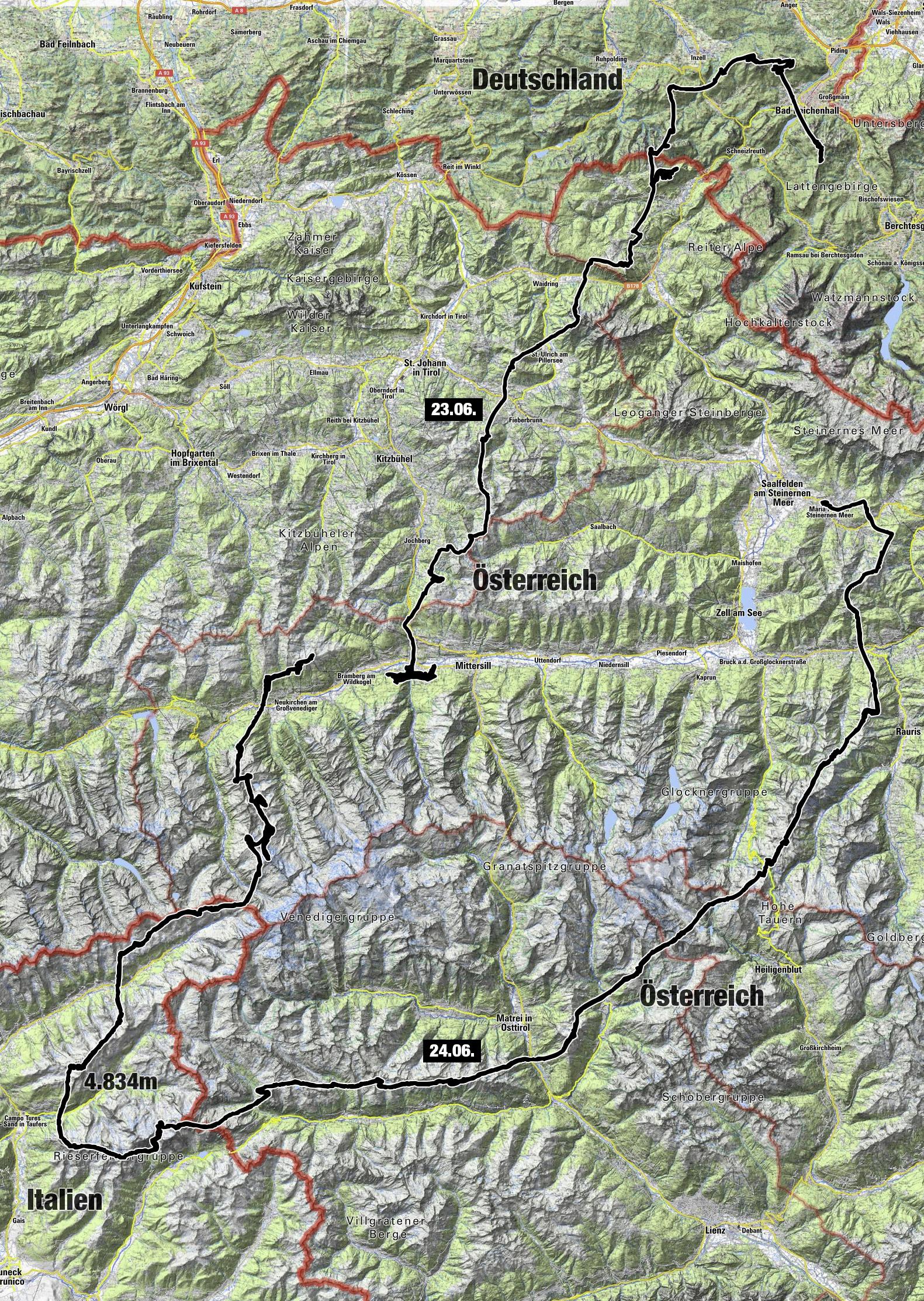 Meine Reiseroute: Bad Reichenhall - Hollersbach - Wildkogel - Sand in Taufers - Grossglockner - Maria Alm - Bad Reichenhall. Was für ein Erlebnis!